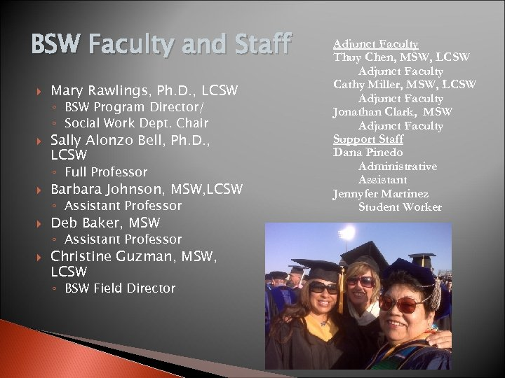 BSW Faculty and Staff Mary Rawlings, Ph. D. , LCSW ◦ BSW Program Director/