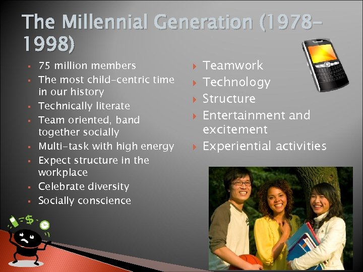 The Millennial Generation (19781998) 75 million members The most child-centric time in our history