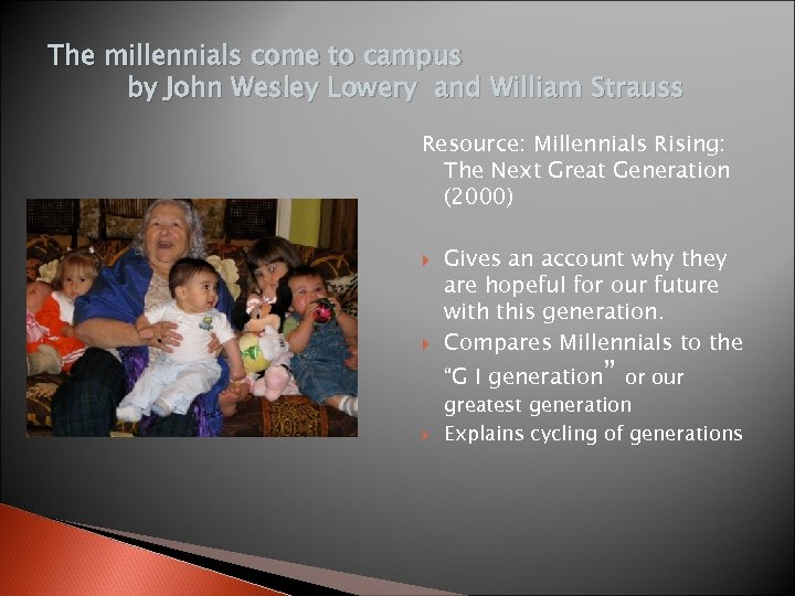 The millennials come to campus by John Wesley Lowery and William Strauss Resource: Millennials