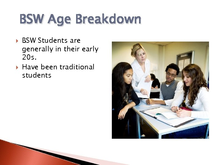 BSW Age Breakdown BSW Students are generally in their early 20 s. Have been