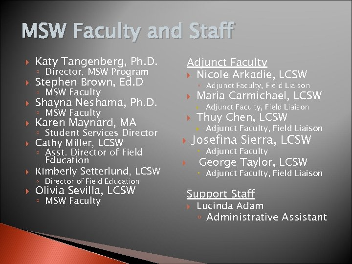 MSW Faculty and Staff Katy Tangenberg, Ph. D. Stephen Brown, Ed. D Adjunct Faculty