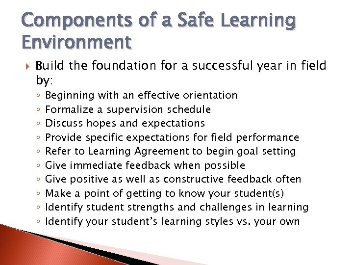 Components of a Safe Learning Environment Build the foundation for a successful year in