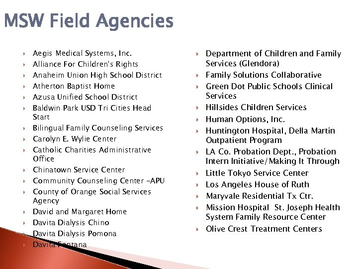 MSW Field Agencies Aegis Medical Systems, Inc. Alliance For Children's Rights Anaheim Union High