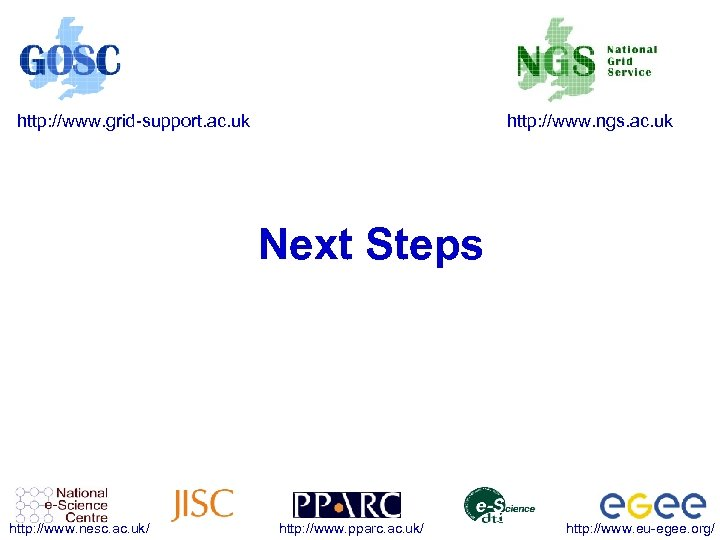 http: //www. grid-support. ac. uk http: //www. ngs. ac. uk Next Steps http: //www.