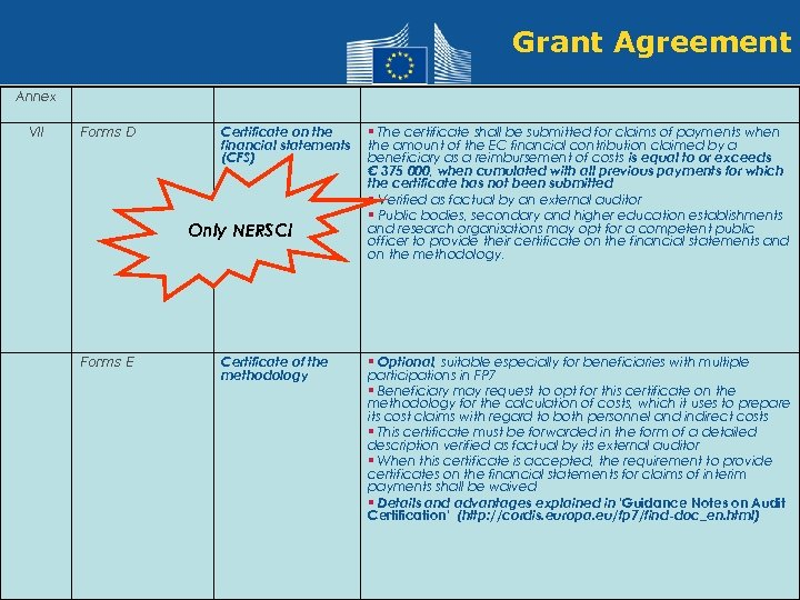 Grant Agreement Annex VII Forms D Certificate on the financial statements (CFS) Only NERSC!