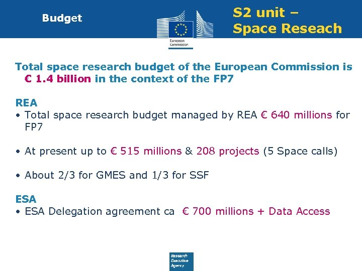 Budget S 2 unit – Space Reseach Total space research budget of the European