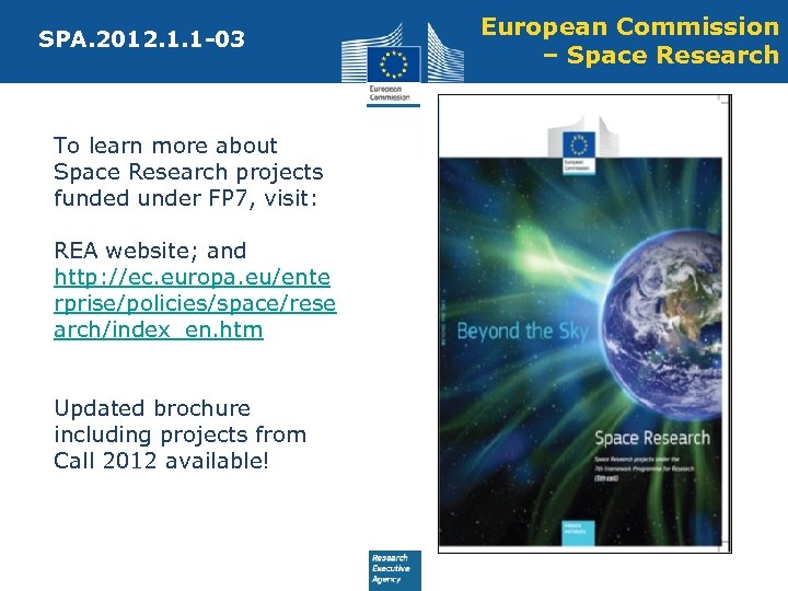 SPA. 2012. 1. 1 -03 To learn more about Space Research projects funded under