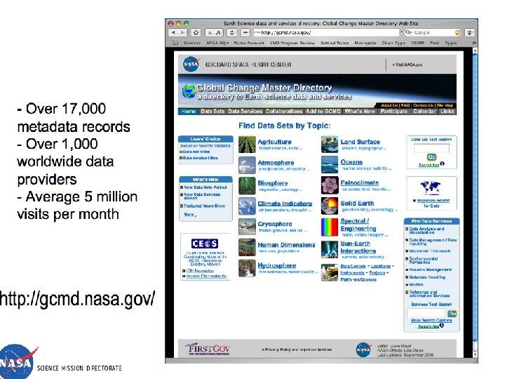 - Over 17, 000 metadata records - Over 1, 000 worldwide data providers -