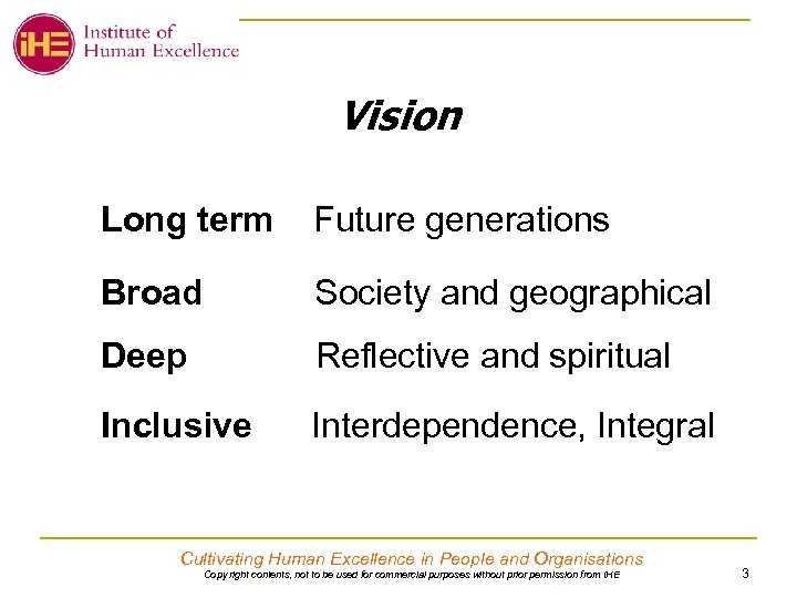 Vision Long term Future generations Broad Society and geographical Deep Reflective and spiritual Inclusive