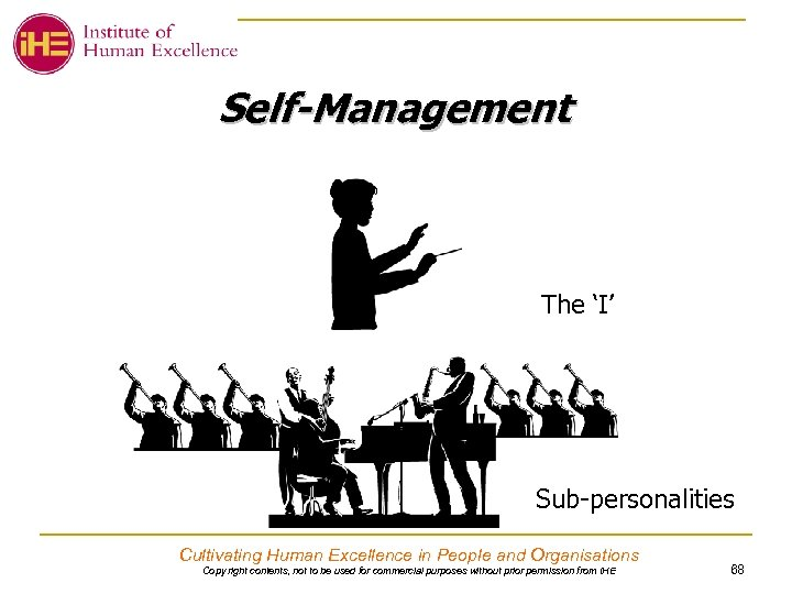 Self-Management The 'I' Sub-personalities Cultivating Human Excellence in People and Organisations Copy right contents,