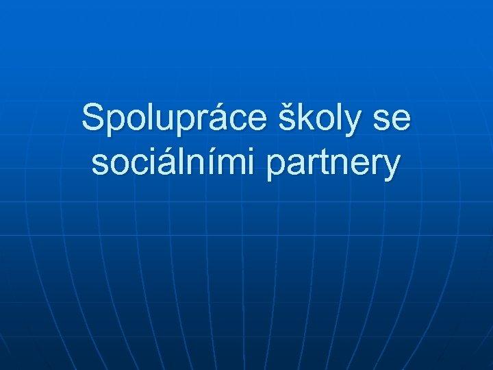 Spolupráce školy se sociálními partnery