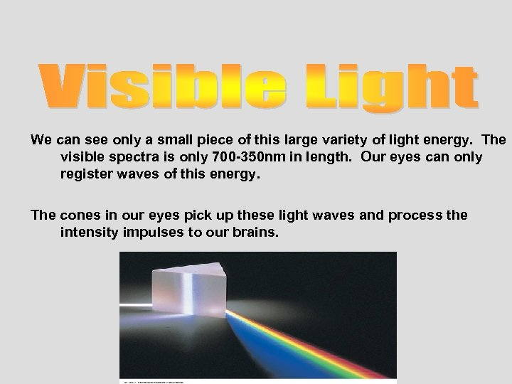 We can see only a small piece of this large variety of light energy.