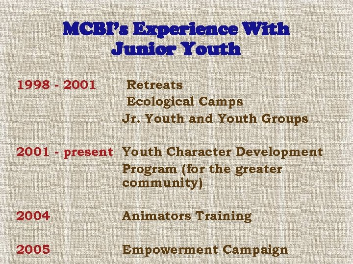 MCBI's Experience With Junior Youth 1998 - 2001 Retreats Ecological Camps Jr. Youth and