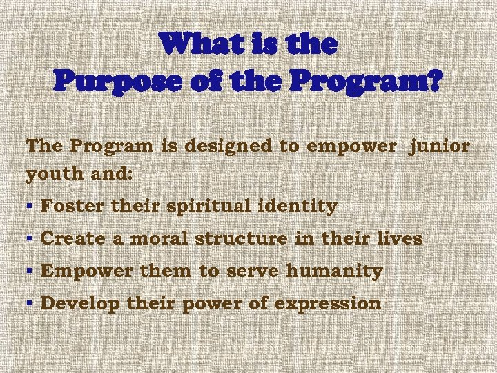 What is the Purpose of the Program? The Program is designed to empower junior