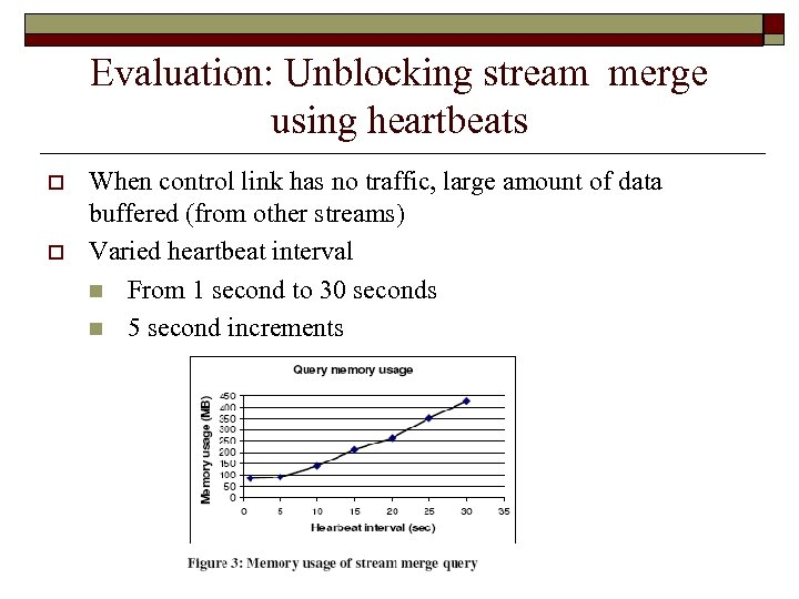Evaluation: Unblocking stream merge using heartbeats o o When control link has no traffic,