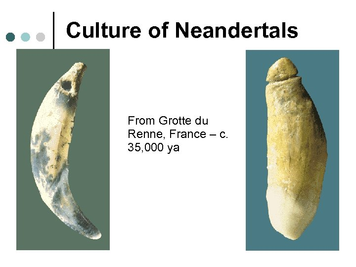 Culture of Neandertals From Grotte du Renne, France – c. 35, 000 ya