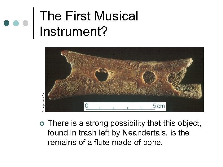 The First Musical Instrument? ¢ There is a strong possibility that this object, found