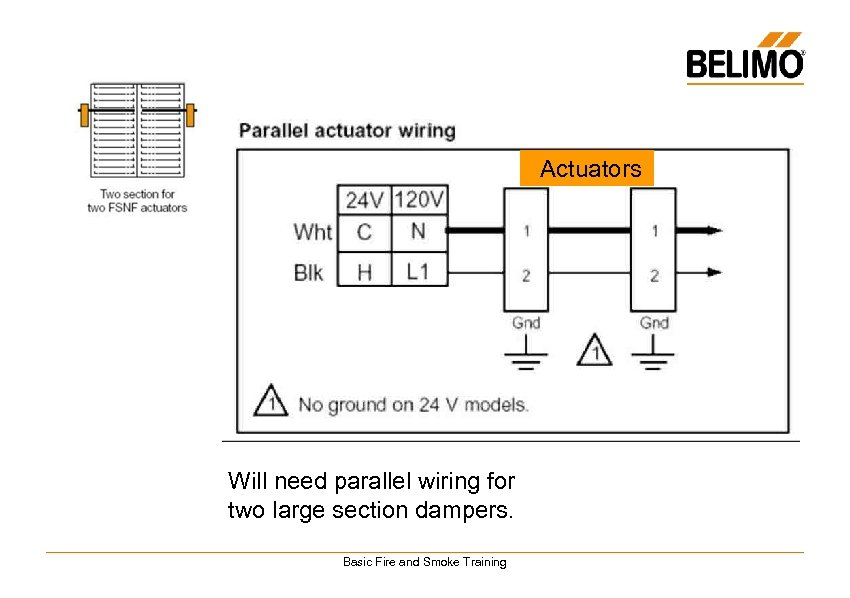 Actuators Will need parallel wiring for two large section dampers. Basic Fire and Smoke