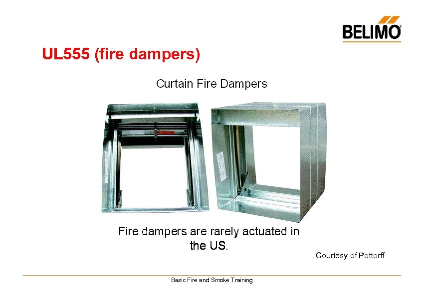 UL 555 (fire dampers) Courtesy of Pottorff Basic Fire and Smoke Training