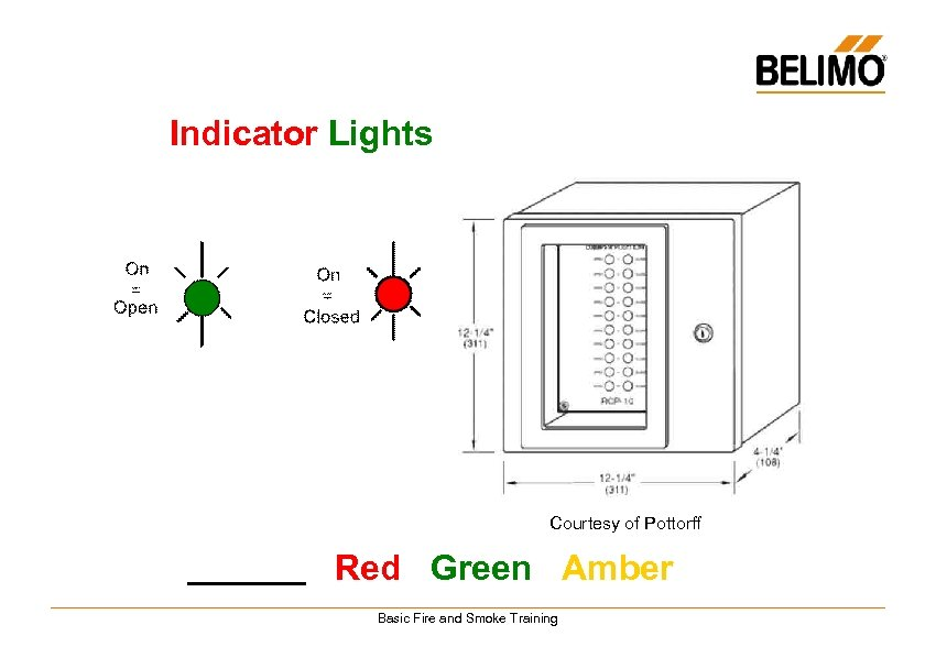 Indicator Lights Courtesy of Pottorff Red Green Amber Basic Fire and Smoke Training