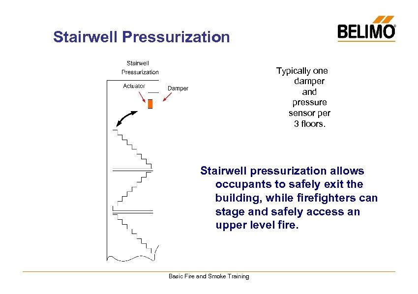 Stairwell Pressurization Typically one damper and pressure sensor per 3 floors. Stairwell pressurization allows