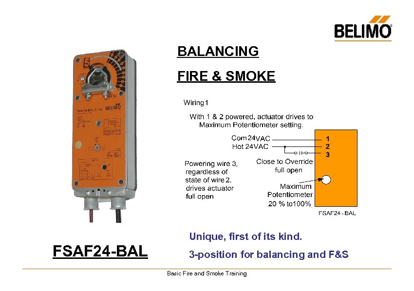 BALANCING FIRE & SMOKE Unique, first of its kind. FSAF 24 -BAL 3 -position