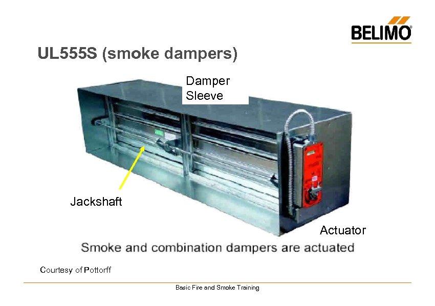 UL 555 S (smoke dampers) Damper Sleeve Jackshaft Actuator Courtesy of Pottorff Basic Fire