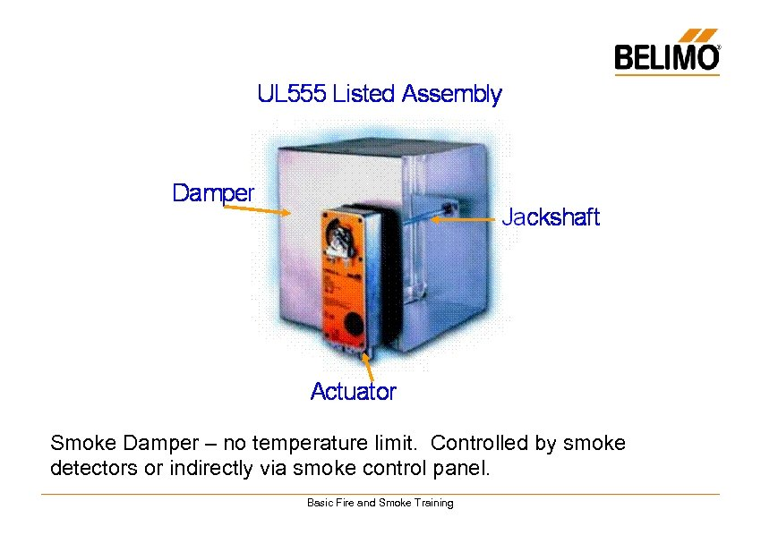 Smoke Damper – no temperature limit. Controlled by smoke detectors or indirectly via smoke