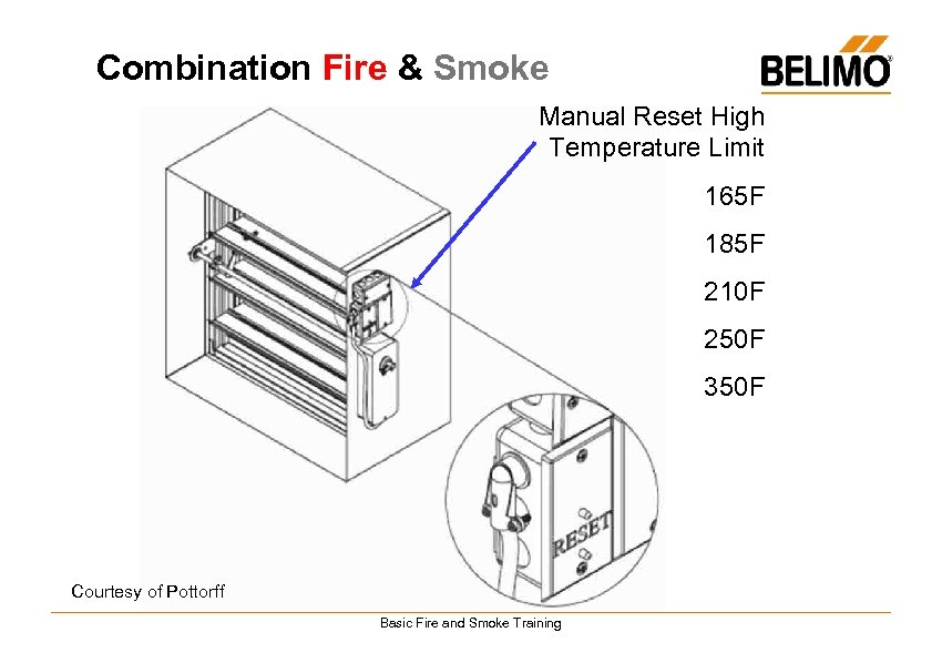 Combination Fire & Smoke Manual Reset High Temperature Limit 165 F 185 F 210