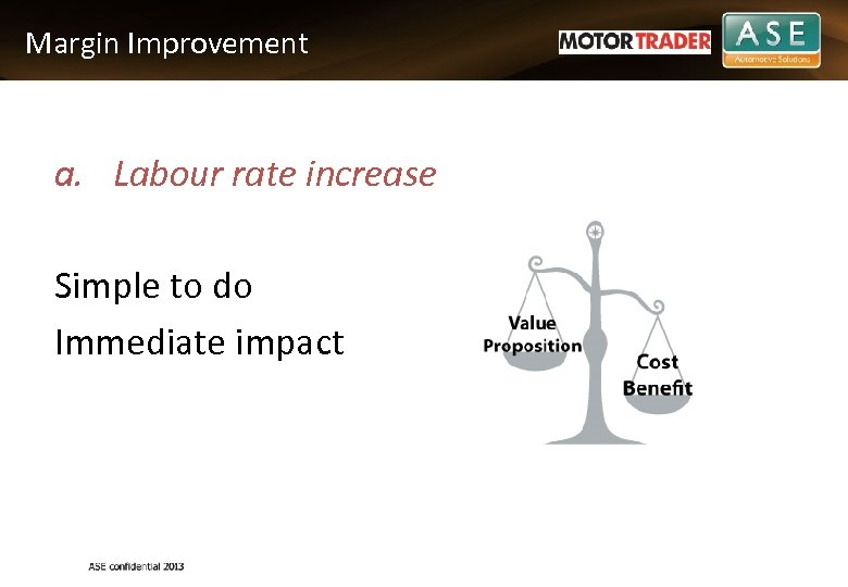Margin Improvement a. Labour rate increase Simple to do Immediate impact