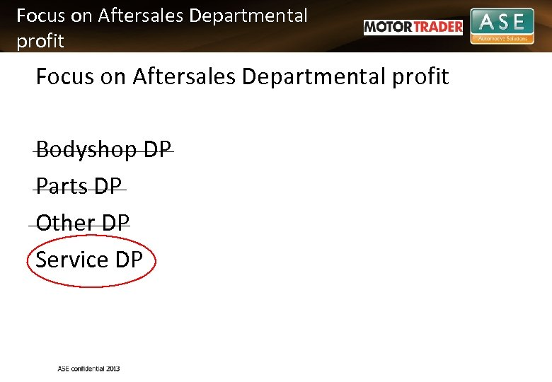 Focus on Aftersales Departmental profit Bodyshop DP ______ Parts DP _______ Other DP Service