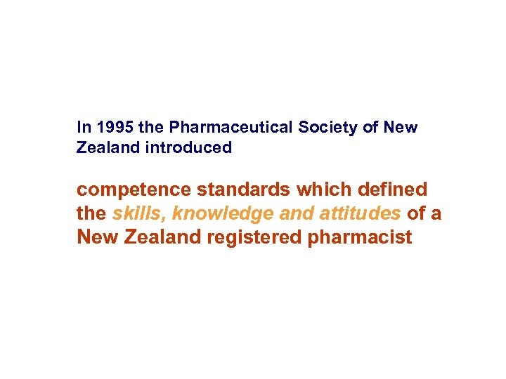 In 1995 the Pharmaceutical Society of New Zealand introduced competence standards which defined the