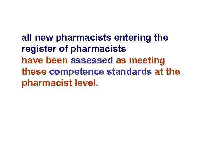 all new pharmacists entering the register of pharmacists have been assessed as meeting these