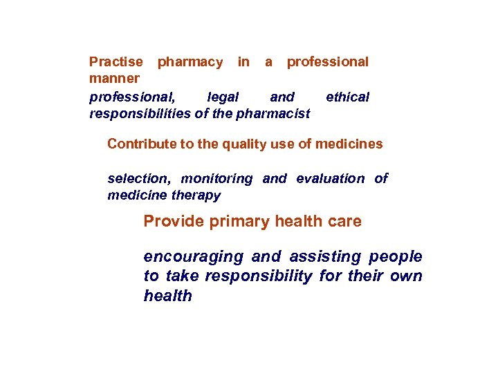 Practise pharmacy in a professional manner professional, legal and ethical responsibilities of the pharmacist