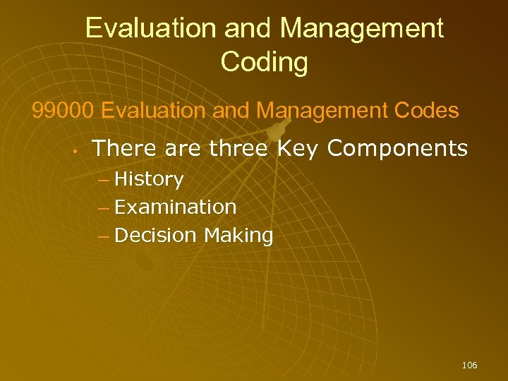 Evaluation and Management Coding 99000 Evaluation and Management Codes • There are three Key