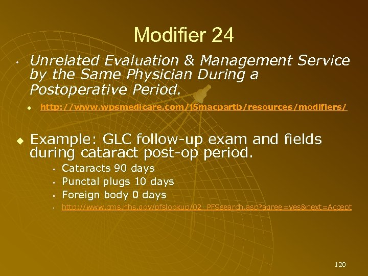 Modifier 24 • Unrelated Evaluation & Management Service by the Same Physician During a