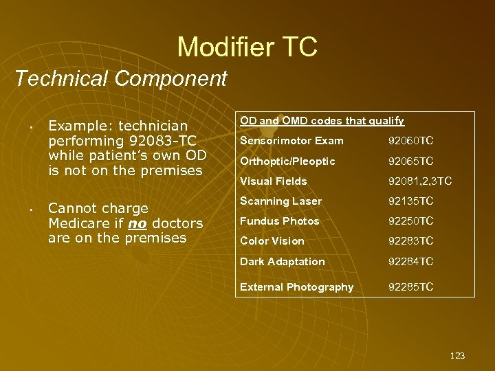 Modifier TC Technical Component • • Example: technician performing 92083 -TC while patient's own