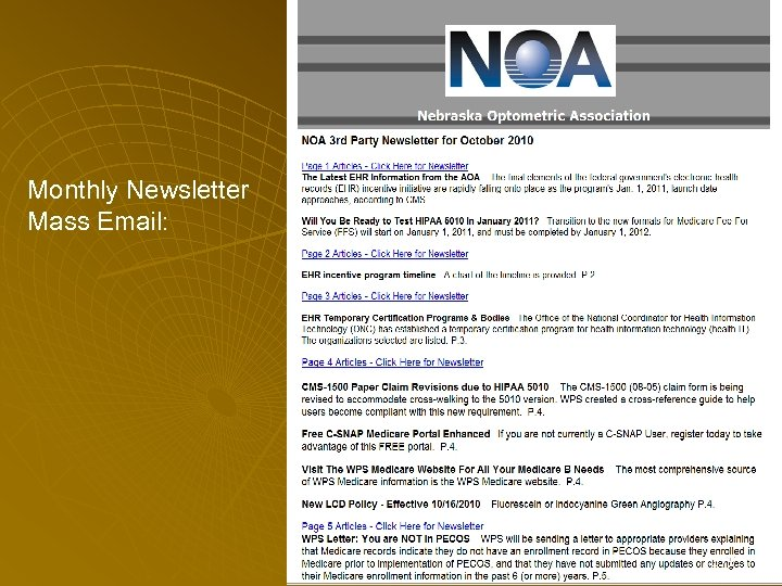 Monthly Newsletter Mass Email: 175
