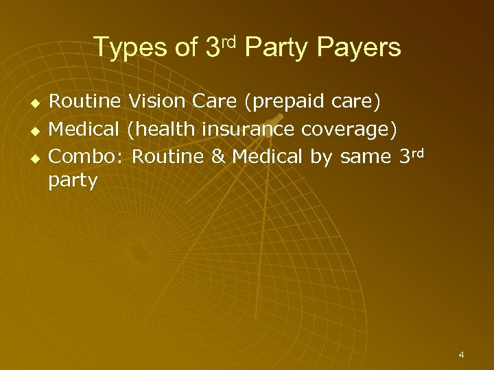 Types of 3 rd Party Payers Routine Vision Care (prepaid care) Medical (health insurance