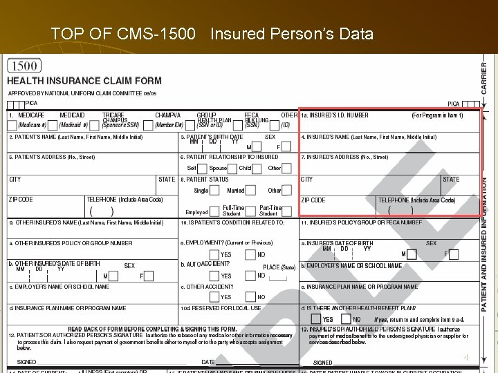 TOP OF CMS-1500 Insured Person's Data 64