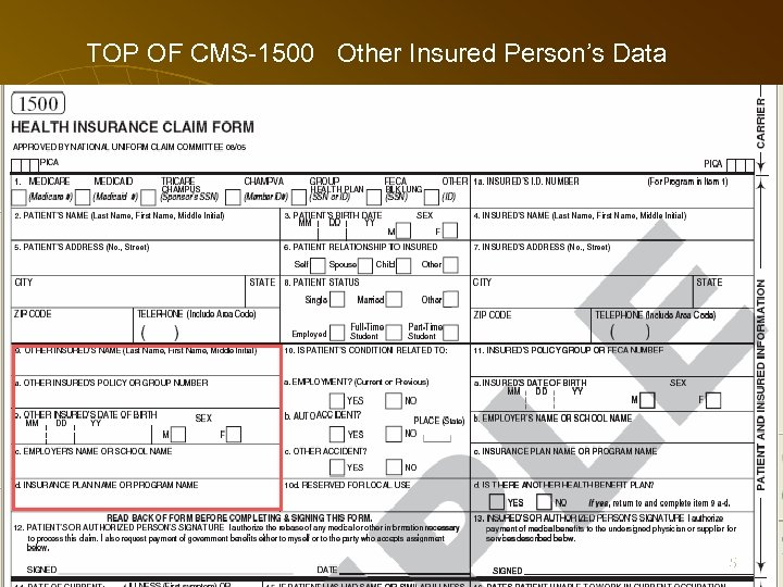 TOP OF CMS-1500 Other Insured Person's Data 65