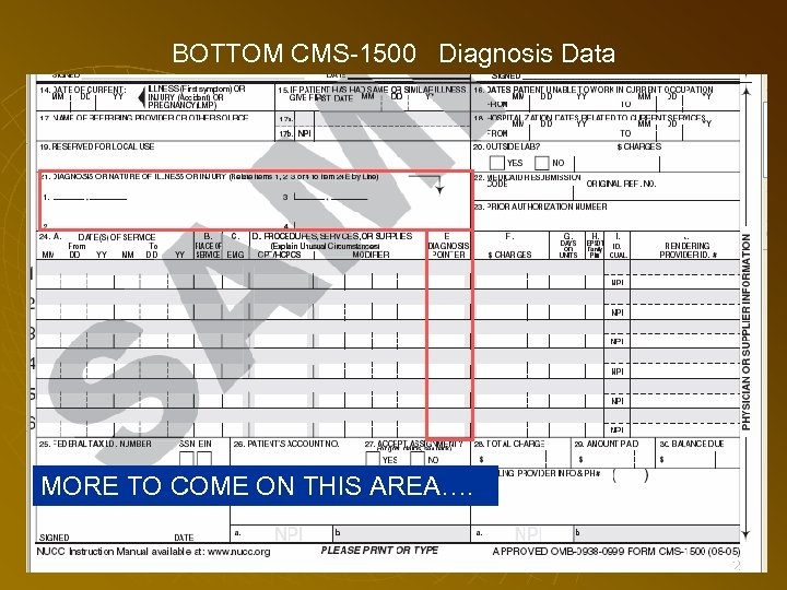 BOTTOM CMS-1500 Diagnosis Data MORE TO COME ON THIS AREA…. 72