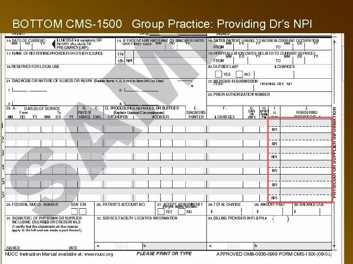 BOTTOM CMS-1500 Group Practice: Providing Dr's NPI 76