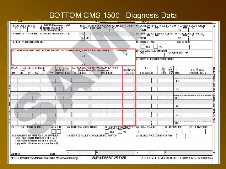 BOTTOM CMS-1500 Diagnosis Data 83