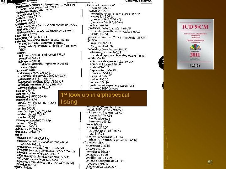Diagnosis Codes 1 st look up in alphabetical listing 85