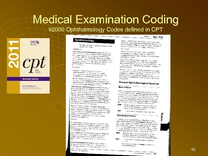 Medical Examination Coding 92000 Ophthalmology Codes defined in CPT 95
