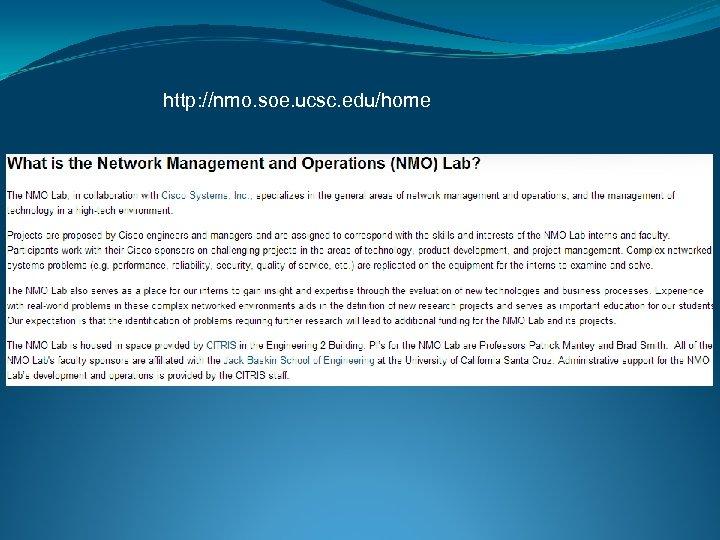 http: //nmo. soe. ucsc. edu/home