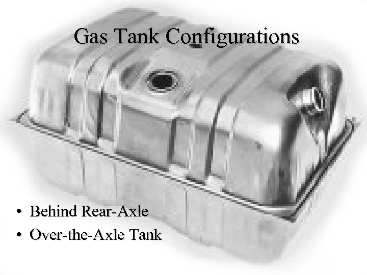 Gas Tank Configurations • Behind Rear-Axle • Over-the-Axle Tank