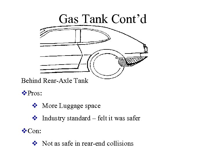 Gas Tank Cont'd Behind Rear-Axle Tank v. Pros: v More Luggage space v Industry