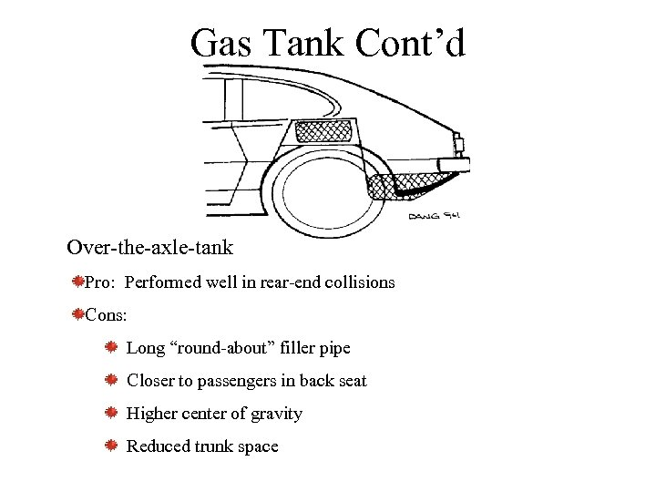 "Gas Tank Cont'd Over-the-axle-tank Pro: Performed well in rear-end collisions Cons: Long ""round-about"" filler"